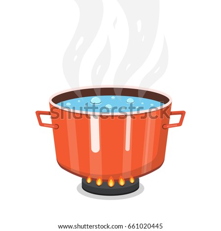 Boiling Water Pan Cooking Pot On Stock Vector 661020445 ...