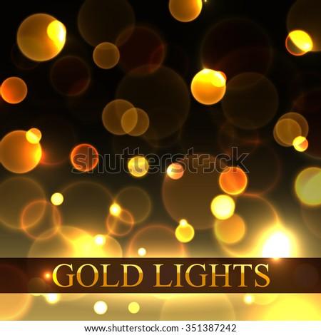 Bokeh background. Gold bokeh background. Vector bokeh background. Bokeh lights. Vector bokeh lights. Bokeh abstract. Gold bokeh abstract.  - stock vector