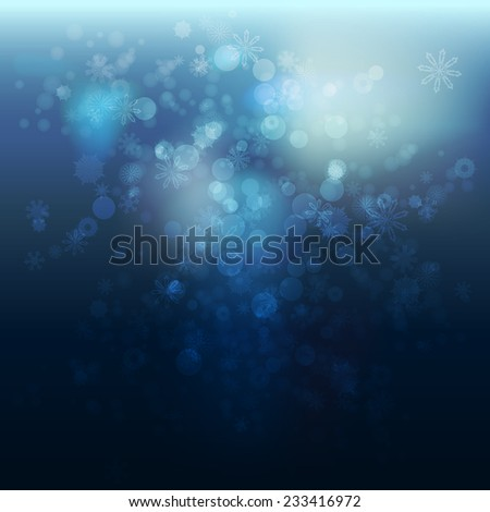 Bokeh background with snow. Vector abstract illustration - stock vector