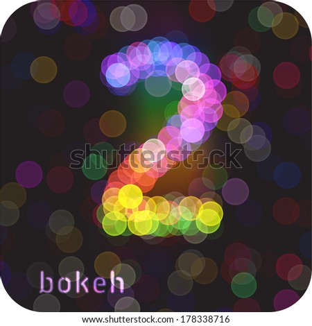 Bokeh effect in the form of number 2. Vector Eps 10. - stock vector