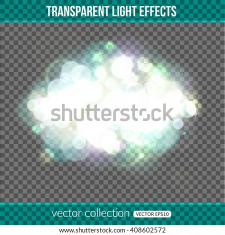 Bokeh lights over transparent background. Bokeh lights effect. Vector illustration.  - stock vector