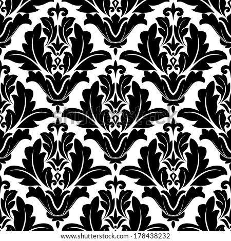Bold black and white arabesque design with a geometric floral motif in a repeat seamless pattern suitable for damask style fabric or wallpaper - stock vector