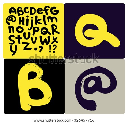 Bold Brush Font - stock vector