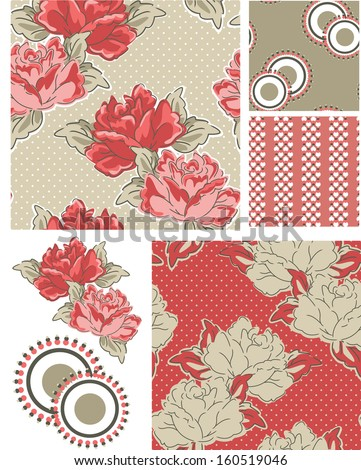 Bold Floral Vector Patterns.  Use as pattern fills to create stunning items for art and craft projects. - stock vector