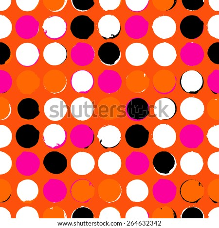 Bold geometric pattern with randomly colored circles in pink orange black and white colors. Vector seamless texture in vintage 1960s fashion style. Modern hipster background with dots. - stock vector