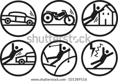 Bold line icons illustrating accidents and hazards - stock vector
