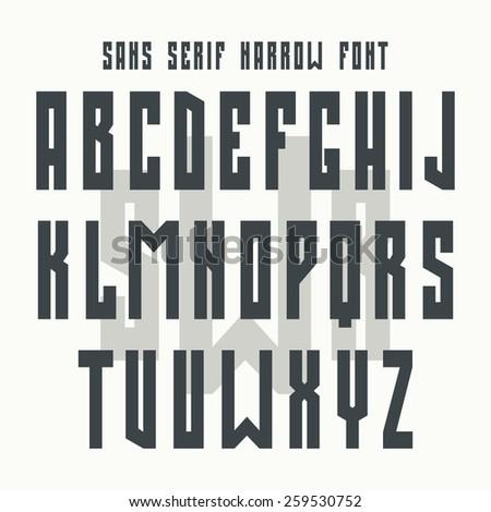 Bold sanserif font in retro style. Black font on light background - stock vector