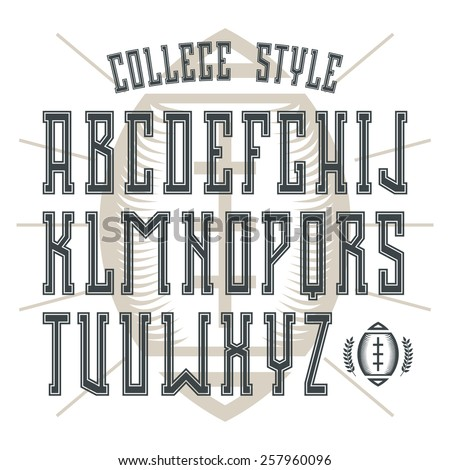 Bold serif font in college style with contour. Black font on light background - stock vector