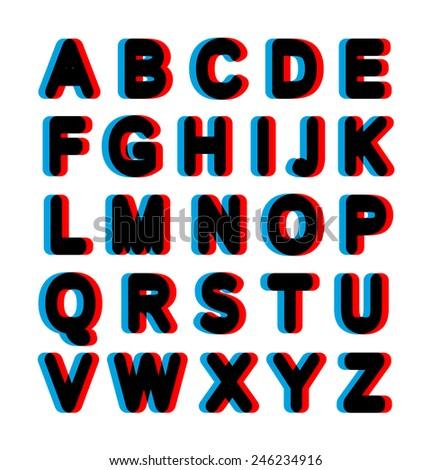 Bold stereo alphabet - stock vector