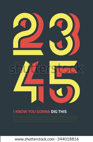 Bold vector graphic design numbers - stock vector