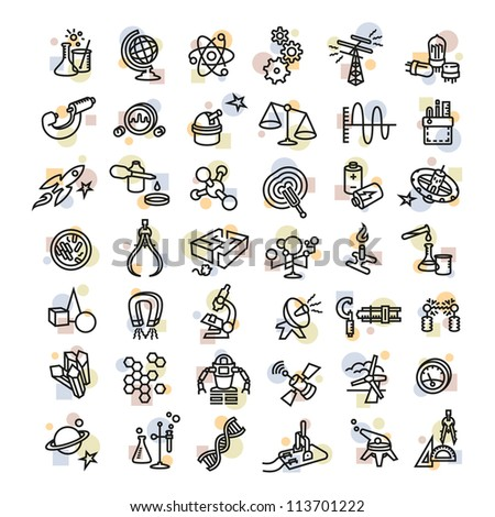 Bold Vector Research, Laboratory Science and Industry Icons - stock vector