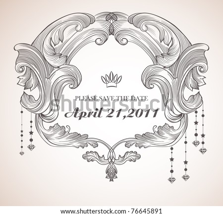 bold vintage frame - best invitation card - stock vector