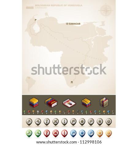 Bolivarian Republic of Venezuela and North America Maps, plus extra set of isometric icons & cartography symbols set (part of the World Maps Set) - stock vector