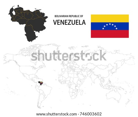 Bolivarian Republic Venezuela Map On World Stock Vector 746003602 ...