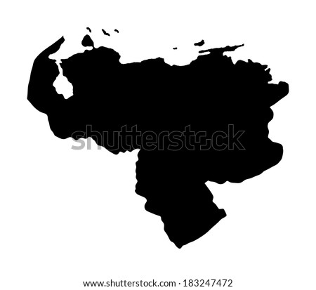 Bolivarian Republic of Venezuela vector map, isolated on white background. High detailed illustration. - stock vector