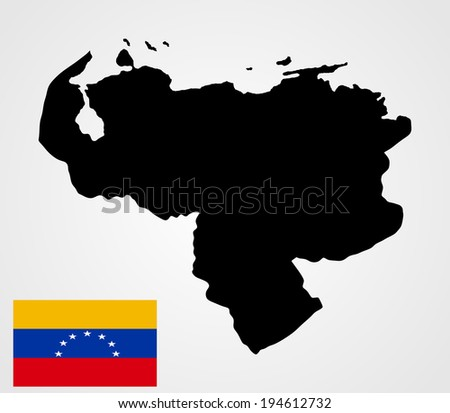 Bolivarian Republic of Venezuela vector map, isolated on white background. High detailed illustration. Venezuela vector flag. Flag of Venezuela. Vector. Accurate dimensions, element proportions.  - stock vector