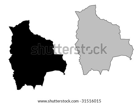 Bolivia map. Black and white. Mercator projection. - stock vector