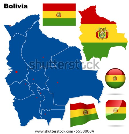 Bolivia vector set. Detailed country shape with region borders, flags and icons isolated on white background. - stock vector