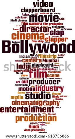 Bollywood word cloud concept. Vector illustration