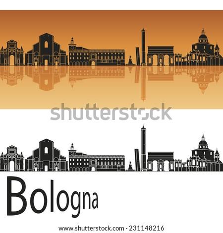 Bologna skyline in orange background in editable vector file - stock vector