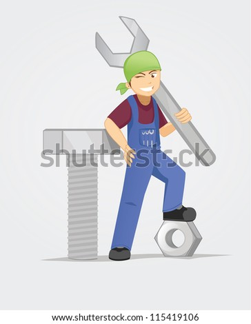 bolt, nut, and wrench - stock vector