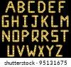 Bolted golden strip vector alphabet. A to Z - stock vector