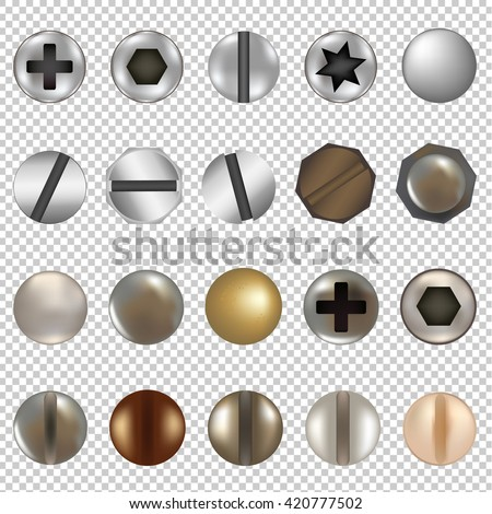 Bolts And Screws Big Set, Isolated on Transparent Background, With Gradient Mesh, Vector Illustration - stock vector