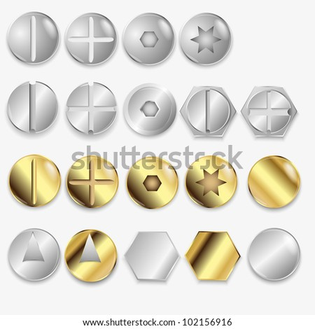 Bolts And Screws, Isolated On White Background, Vector Illustration - stock vector