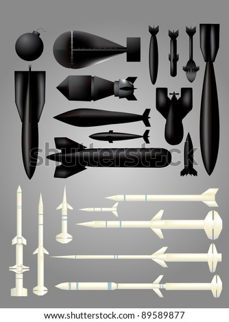 Bomb and Rocket set - stock vector