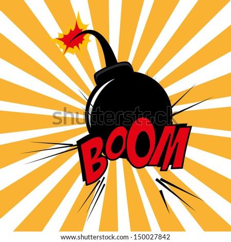 Bomb design over grunge  background vector illustration  - stock vector