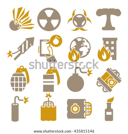 bomb, explode, explosion icon set - stock vector