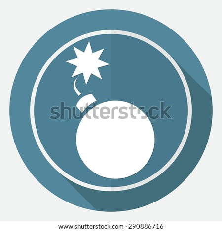 Bomb icon on white circle with a long shadow - stock vector