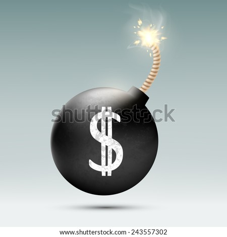 Bomb with a dollar sign and the burning wick - stock vector