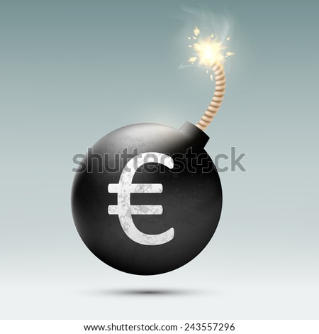 Bomb with euro and burning wick - stock vector