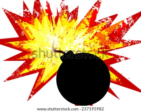 bomb with explosion - stock vector