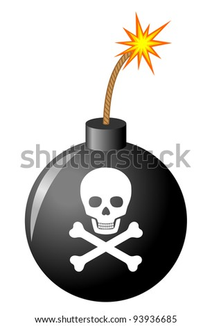 Bomb with skull - stock vector