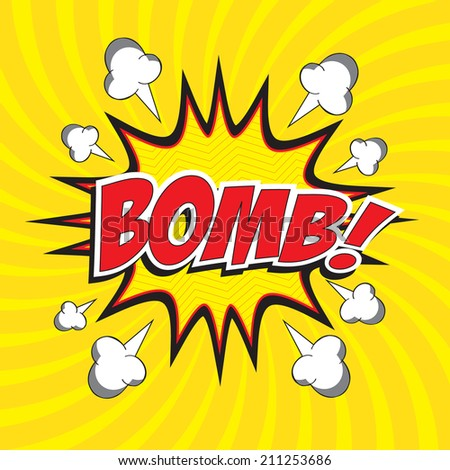 BOMB! wording comic speech bubble in pop art style on burst background, cartoon background