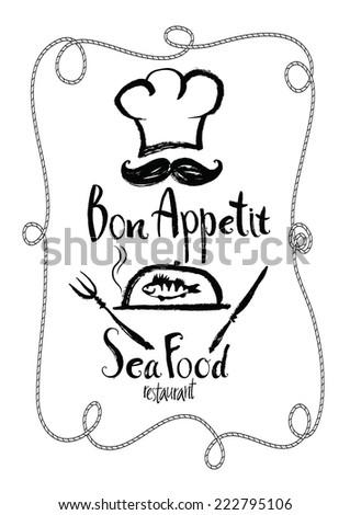 Bon Appetit Sea Food restaurant Menu card - stock vector