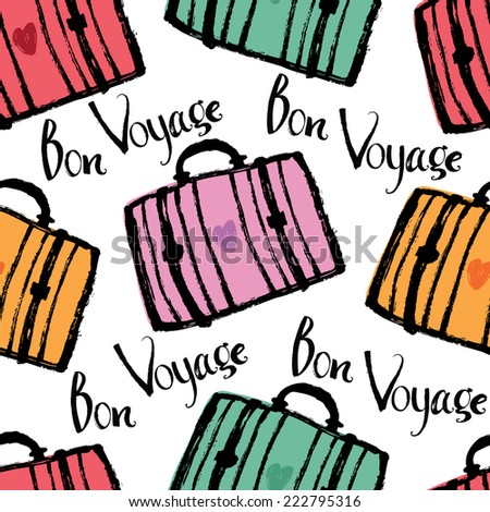 Bon Voyage Background with colorful suitcases - stock vector