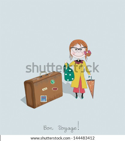 Bon Voyage card with woman and suitcases - stock vector