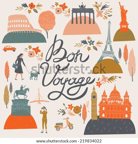Bon Voyage Print Design - stock vector