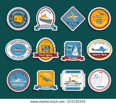 Bon voyage travel agency flying dream air and sea cruises stickers collection color abstract isolated vector illustration - stock vector