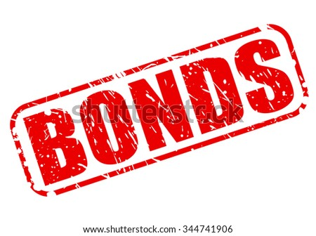 BONDS red stamp text on white - stock vector