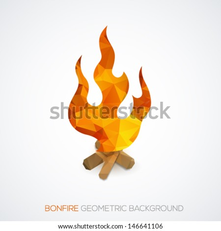 Bonfire geometric triangle background. Vector illustration.  - stock vector