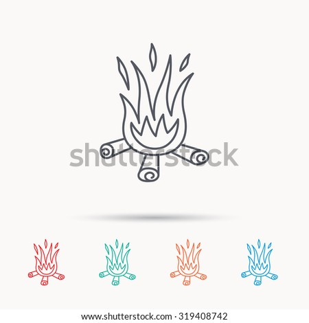 Bonfire icon. Fire sign. Linear icons on white background. Vector - stock vector