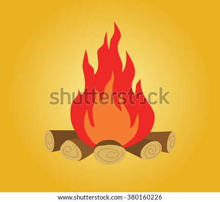 bonfire isolated with wood and flame fire yellow background vector illustration