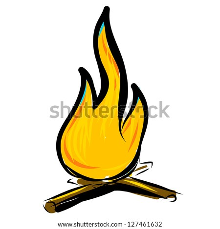 Bonfire simple hand drawing sketch vector illustration - stock vector