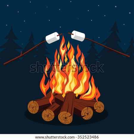 Bonfire with marshmallow - camping, burning woodpile. Vector picture - stock vector
