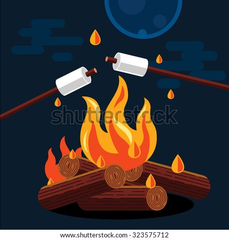 Bonfire with marshmallow. Vector flat illustration - stock vector