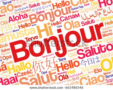 English as a foreign language stock images royalty free images bonjour hello greeting in french word cloud in different languages of the world m4hsunfo